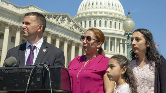 US Rep. Darren Soto with  Alejandra Juarez, a mother and veteran's wife who was deported on August 3