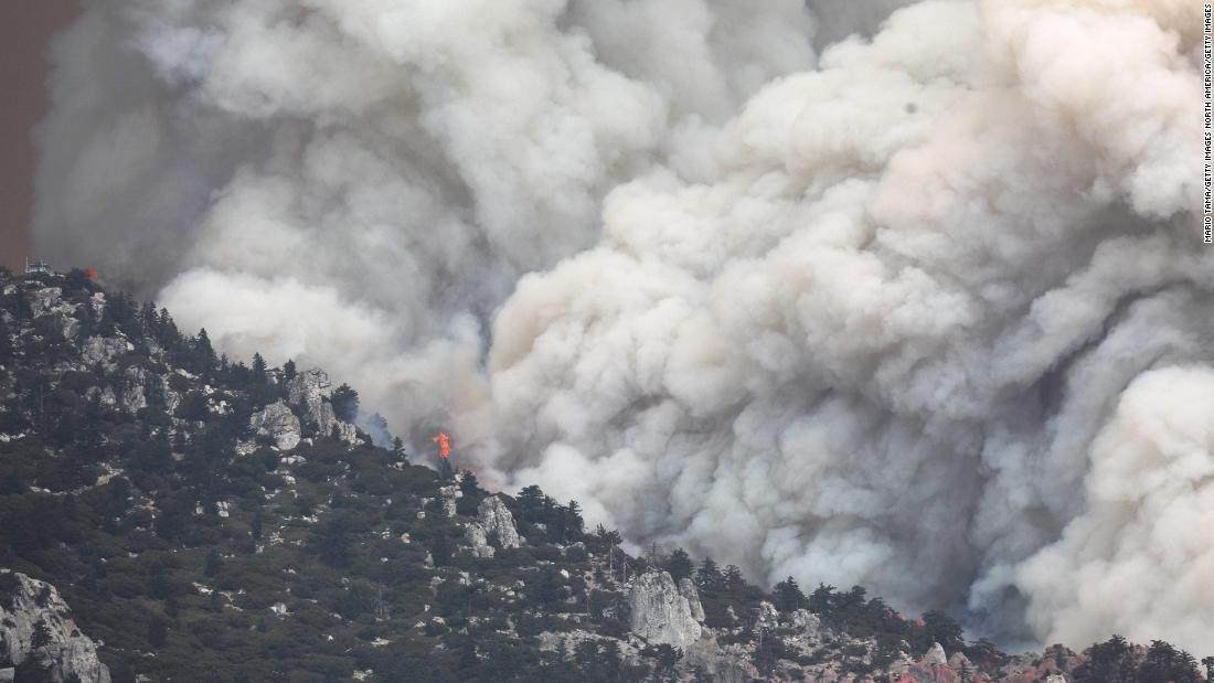 The Cranston Fire burns in San Bernardino National Forest, near Idlyllwild, California, on July 26. The Cranston Fire has prompted thousands to flee their homes.