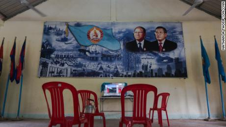 Inside the Cambodian People's Party office in Traing district, Takeo province. The single staffer on duty did not want to be photographed.