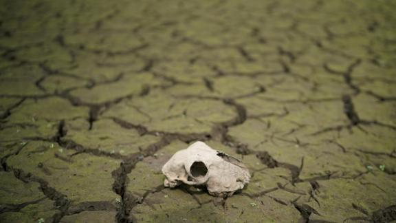 The dried-up bed of the Wayoh Reservoir is seen near Bolton, England, on Monday, July 23.