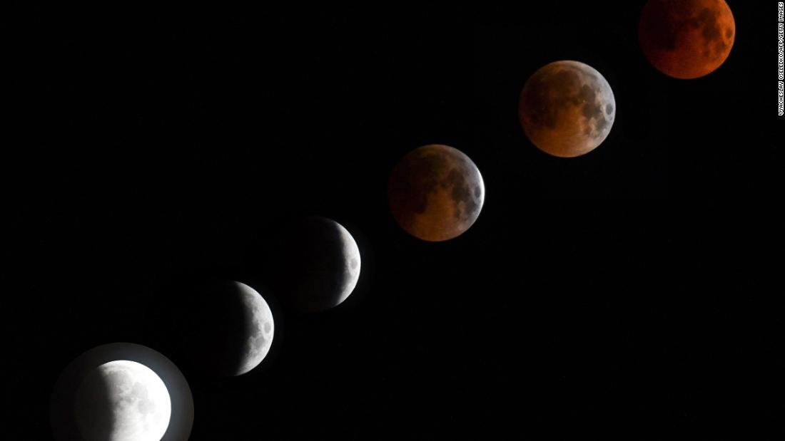 This composite photo shows several images of the moon as it goes though the different stages of the eclipse. The photos were taken in Bishkek, Kyrgyzstan.