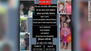 A flyer seeking information as familly searched for Melody Bledoe and her great-grandchildren. They were found dead Saturday.
