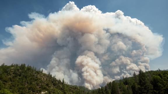 A large pyrocumulus cloud explodes near Redding on July 27.