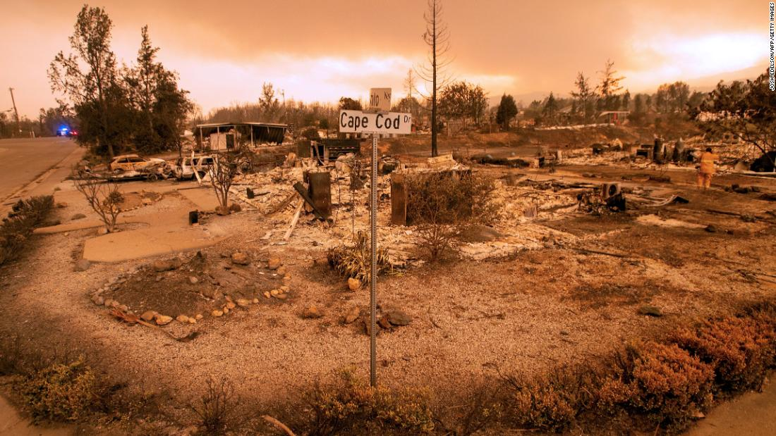 Burned-out properties are seen during the Carr Fire in Redding, California.