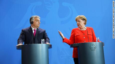 German Chancellor Angela Merkel, right, and Hungarian Prime Minister Viktor Orban at a joint press conference on July 5, 2018 in Berlin.