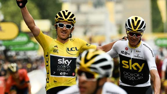 Tour de France winner Geraint Thomas wearing the overall leader's yellow jersey and third-placed Chris Froome, the 2017 champion cross the finish line of 21st and last stage of the 105th edition of the Tour de France.