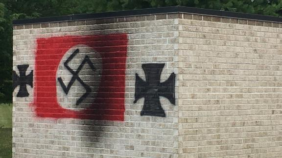 A synagogue in Carmel, Indiana, was vandalized with Nazi symbols.