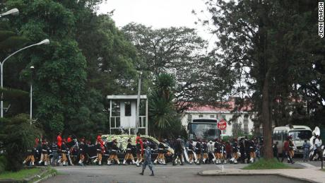 Simepnew Bekel's funeral procession passes the Ministry of Foreign Affairs Foreign Affairs in Addis Ababa