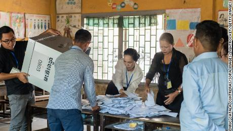 Cambodia's ruling party claims victory in election condemned as 'neither free nor fair'