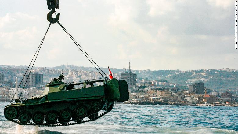 Old army tanks are being used to create an aqua park in the Mediterranean near Sidon, Lebanon.