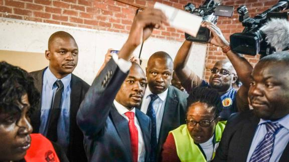 Zimbabwean opposition leader Nelson Chamisa casts his vote on Monday.