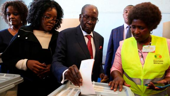 Robert Mugabe casts his vote in the first election where he is not a candidate.