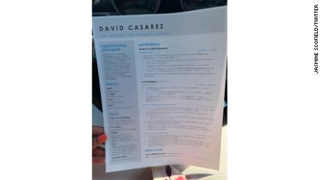 David Casarez CV. CNN intentionally obscured part of this photo to protect its personal information.