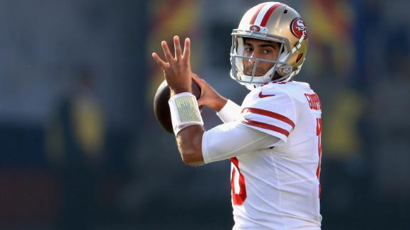 A former backup to Tom Brady in New England, Jimmy Garoppolo took over a terrible 1-10 San Francisco 49ers team last season and promptly won the final five games. Although he has only started seven games his entire career, Garoppolo was rewarded with a  five-year, $137.5 million contract in the offseason. Now the pressure is on.