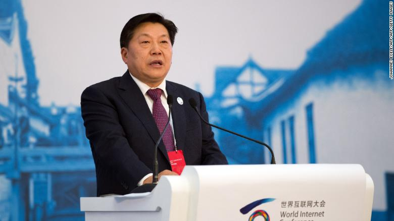 Former Chinese Minister of Cyberspace Affairs Administration, Lu Wei, speaks at the opening ceremony of the World Internet Conference in Wuzhen, in eastern China's Zhejiang province on November 19, 2014.