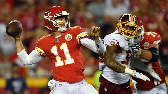 Quarterback Alex Smith (#11) was a Pro Bowler in three of his five seasons with the Kansas City Chiefs -- yet landed in a Washington Redskins uniform for 2018. Going into his 13th NFL season -- which includes five playoff births -- Smith is a veteran who will steer a Redskins team coming off a disappointing 7-9 season in a tough NFC East.