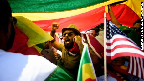 Supporters of Ethiopia's Prime Minister Abiy Ahmed rally for US support outside the State Department on June 26.