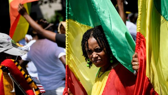 Supporters of Ethiopia's Prime Minister Abiy Ahmed rally for US support outside the State Department on June 26, 2018 in Washington, DC. Brendan Smialowski/AFP/Getty Images