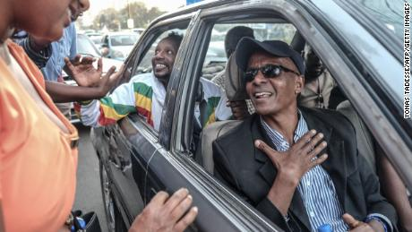 Ethiopian jounalist Eskinder Nega reacts upon his release from Kaliti Prison in Addis Ababa on February 14. The election of Prime Minister Abiy Ahmed in April made him comfortable about returning home from the US.