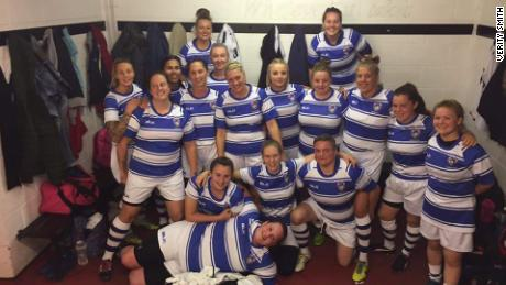 Smith (front row, right) with Rotherham Ladies teammates.