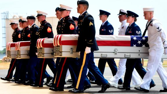 Military members carry transfer cases from a C-17 at a ceremony marking the arrival of the remains believed to be of American service members killed in the Korean War at Joint Base Pearl Harbor-Hickam in Hawaii on Wednesday.