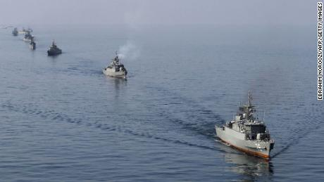 Iranian navy boats take part in exercises in the Strait of Hormuz in January 2012.