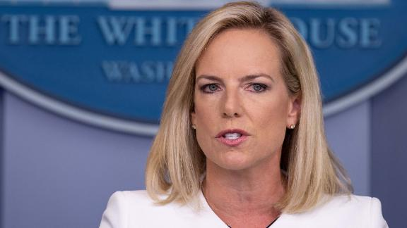 "US Homeland Security Secretary Kirstjen Nielsen speaks during press briefing on national security at the White House in Washington, DC, on August 2, 2018. - The US government on Thursday accused Russia of carrying out a ""pervasive"" campaign to influence public opinion and elections, in a public warning just months before crucial legislative elections. (Photo by NICHOLAS KAMM / AFP)        (Photo credit should read NICHOLAS KAMM/AFP/Getty Images)"
