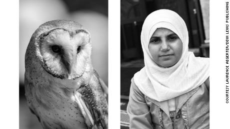 "Our first impression of this pairing, Aëgerter said, is probably based on how our brains subconsciously assess the similarities between the two: the black-and-white balance and the roundness of both the snowy owl on the left and the woman wearing a headscarf on the right. From there, our reactions may vary because of our backgrounds and cultures. Some may connote wisdom to the owl or nobility or dignity to the woman, which gives the pairing great interpretive flexibility, Aëgerter said. ""But I must be honest, I don't make these pieces based on thinking,"" she said. ""All these choices are based on intuition. They are almost on the reflex level."""