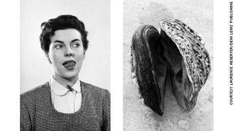 "Both images evoke eroticism through their connotations, not explicitly. Another way to relate the images is through their interaction: Aëgerter wondered out loud what would happen if the woman on the left were to stick her tongue into the oyster shell on the right. ""I always thought that if she put her tongue in the shell, it would clap on her tongue,"" she said, laughing."