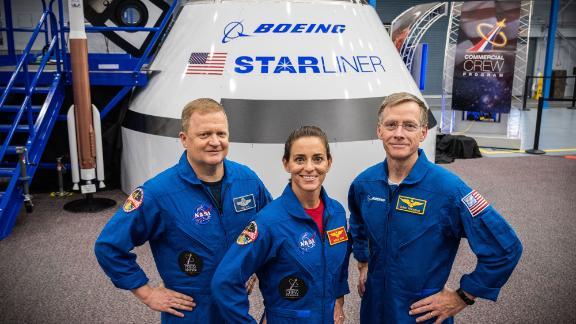 From left: Eric Boe, Nicole Mann, Chris Ferguson