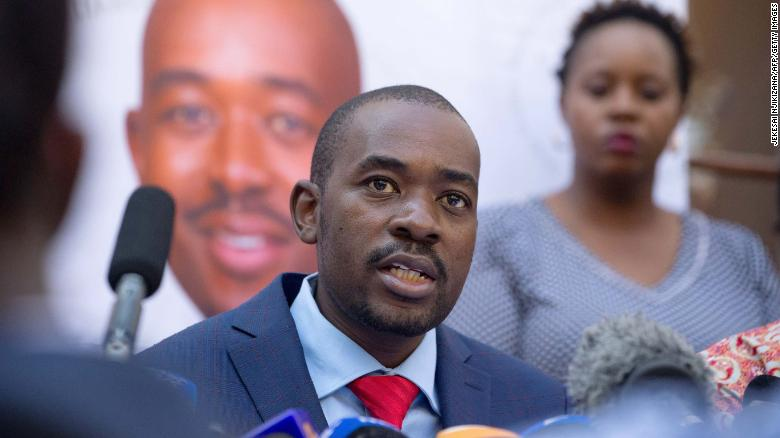 "Nelson Chamisa, the leader of the MDC opposition party, has called the presidential election results ""fraudulent"" and has vowed to dispute them."