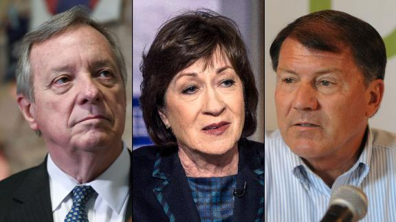From left, Illinois Democratic Sen. Dick Durbin, Maine Republican Sen. Susan Collins and South Dakota Republican Sen. Mike Rounds.