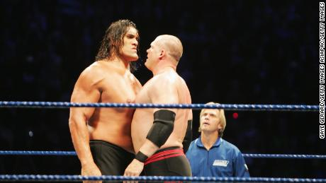 Wrestler the Great Khali and ECW Champion Kane stare each other down during WWE Smackdown at Acer Arena in Sydney in 2008.