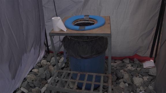 But at base camp, Nepalese authorities have installed portable toilets in the form of blue barrels. According to Fogle, the rule at base camp is to not mix urine with feces. The blue barrels are solely for solid human waste.
