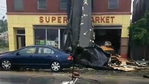 A screen grab from an Instagram video shows Saturday's storm damage in Webster, Massachusetts.