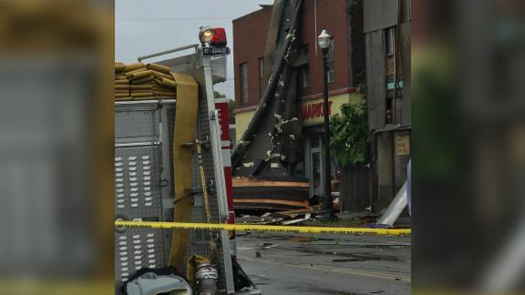 A tornado damaged a handful of buildings in Webster, Massachusetts.