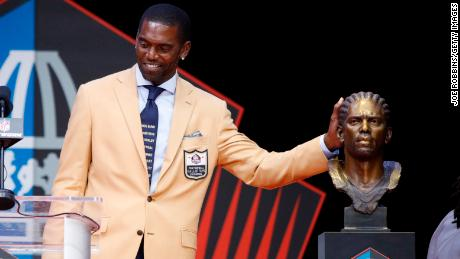 Randy Moss at the NFL Hall of Fame Enshrinement Ceremony on Saturday in Canton, Ohio.