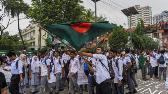 A Bangladeshi student wave Bangladesh