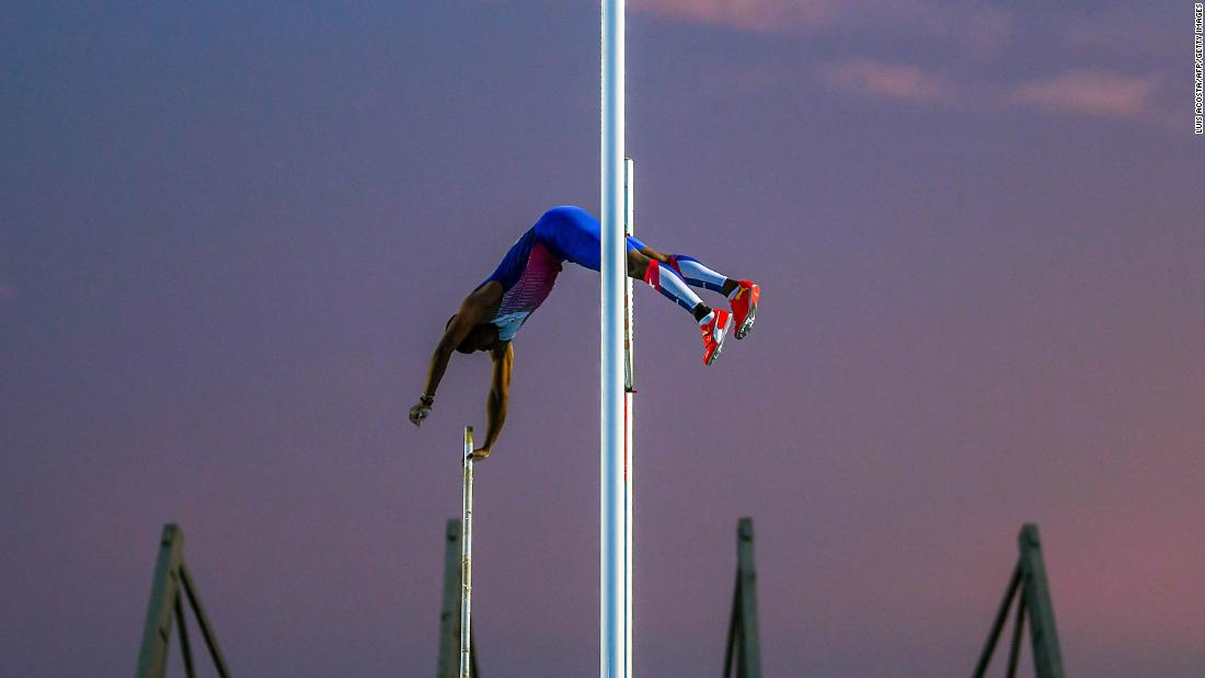 Lazaro Borges competes in the Men's Pole Vault final during the 2018 Central American and Caribbean Games in Barranquilla, Colombia, on Thursday, August 2. <br />