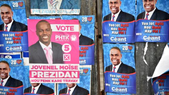Election posters of current President Jovenel Moise and newly appointed Prime Minister Jean Henry Céant in Port-au-Prince, Haiti in 2015.
