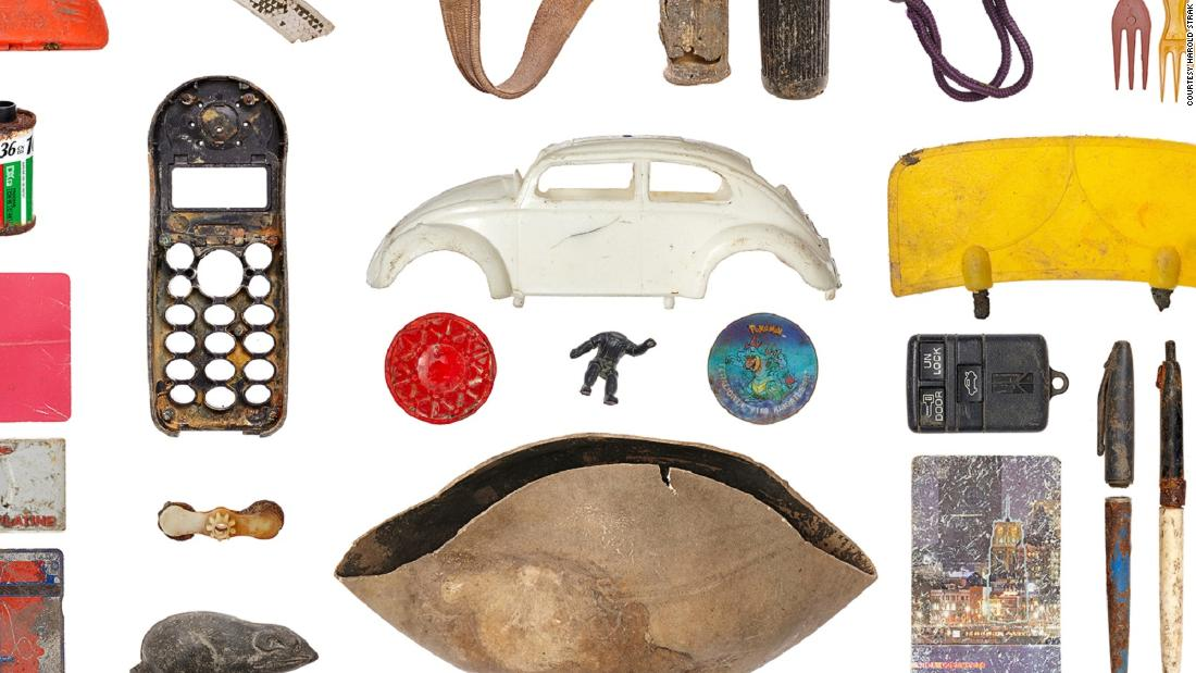 Objects found in the river include keys, coins, pieces of clothing, toys, weapons, and even cellphones.