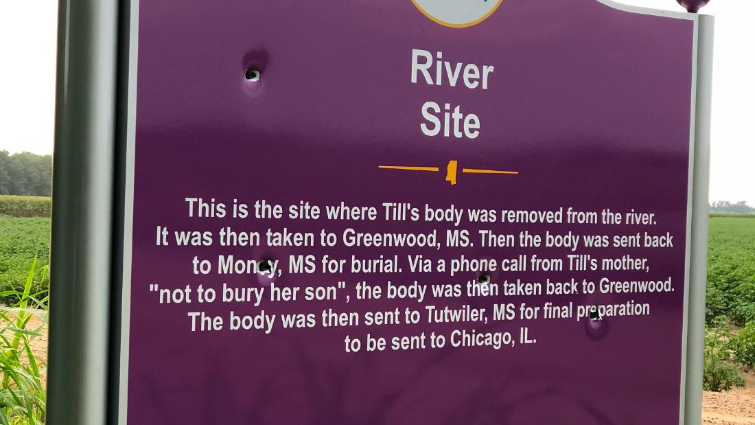 Emmett Till's memorial sign was riddled with bullet holes. 35 days after being replaced, it was shot ...