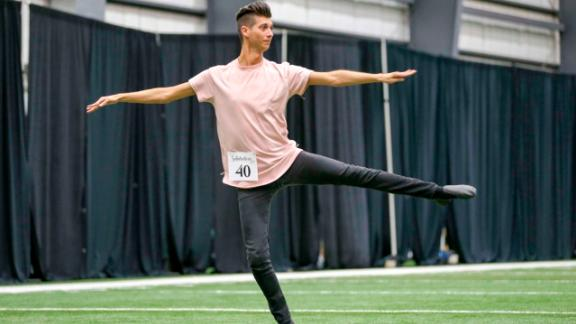 Jesse Hernandez auditioned for the New Orleans Saints' Saintsations cheerleading team in April.