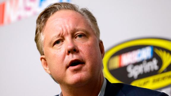 Brian France, NASCAR Chairman and CEO, talks to reporters at a news conference on Nov. 20, 2015.