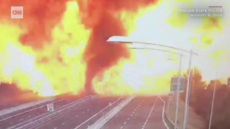 Gas tanker explodes on a highway in Italy