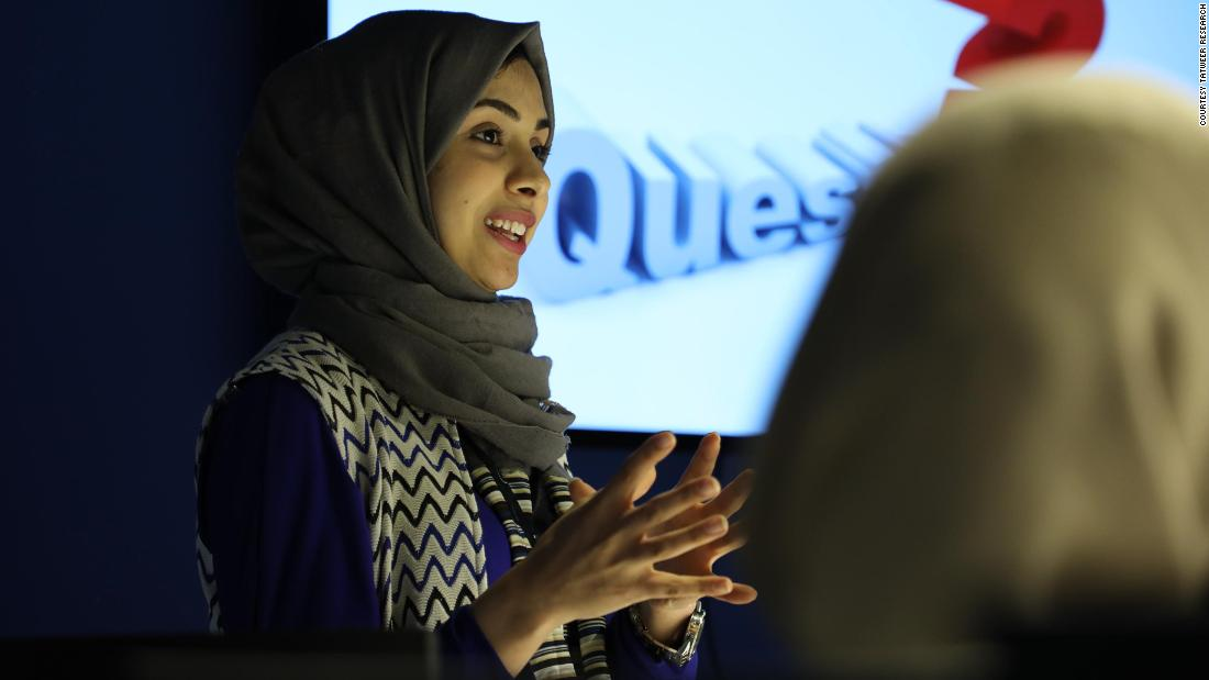 A medical app called Plus helps patients diagnose symptoms of diseases and guides them to the appropriate doctor. The app also reminds users of medications and can keep a record of one's medical history. Hala Haitham (pictured) is one of the app's three founders.