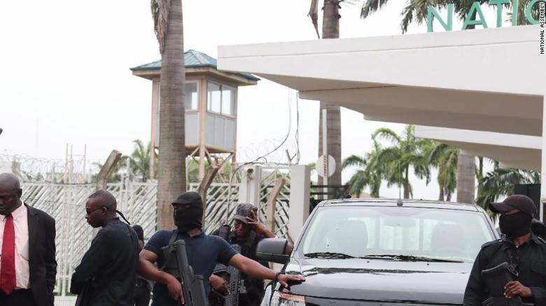 Security operatives outside Nigeria's National Assembly on August 7, 2018.