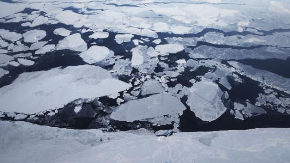 GREENLAND - MARCH 30:  Sea ice is seen from NASA