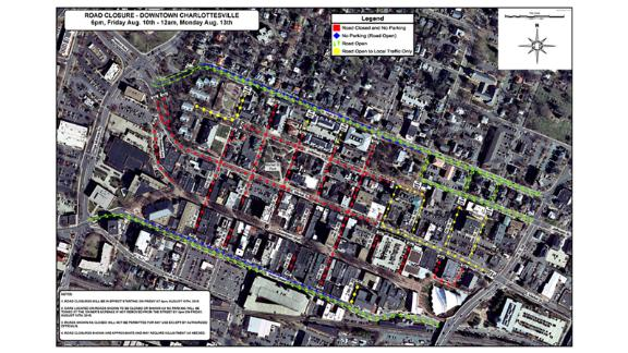 Charlottesville has outlined weekend road closures.