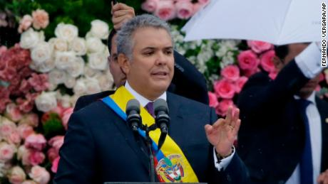 Colombia's President Iván Duque speaks during his inauguration ceremony in the capital Bogota on Tuesday.